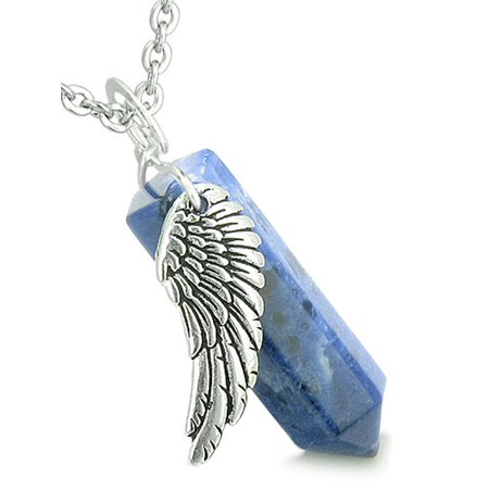 - Amulet Angel Wing Magic Wand Crystal Point Sodalite Healing and Pendant 18 Inch Necklace