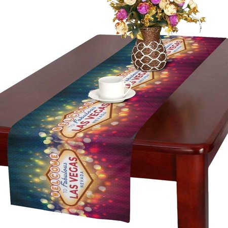 MKHERT Sparkling Las Vegas Sign American City Table Runner Home Decor for Wedding Party Banquet Decoration 16x72 Inch