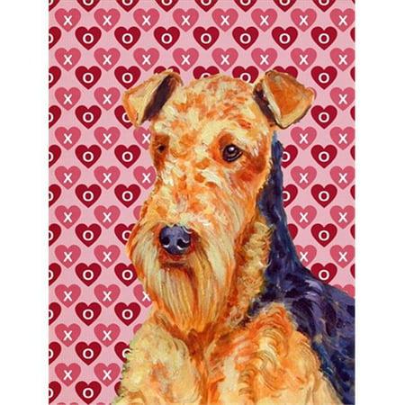 Carolines Treasures LH9156CHF 28 x 40 po. Drapeau Airedale Hearts Love pour la Saint-Valentin en toile, taille de la maison - image 1 de 1
