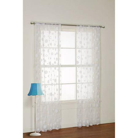 your zone flocked dot sheer girls bedroom curtain panel
