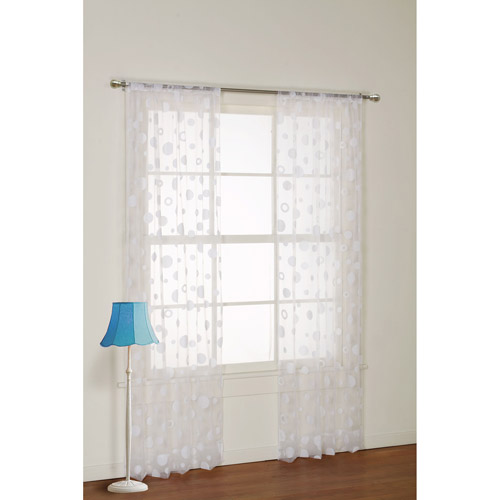 your zone flocked dot sheer girls bedroom curtain panel - Sheer Curtain Panels