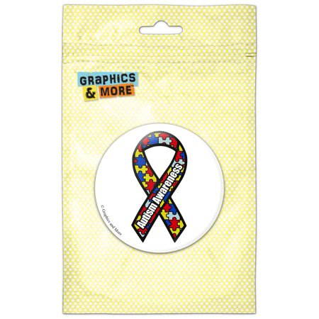 Autism Awareness Ribbon on White Refrigerator Button Magnet Autism Awareness Ribbon Magnet