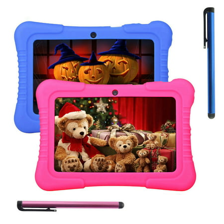 Blue 7 inch 16GB Android Tablet PC Quad Core Camera WIFI For Kids Bundle Case Best