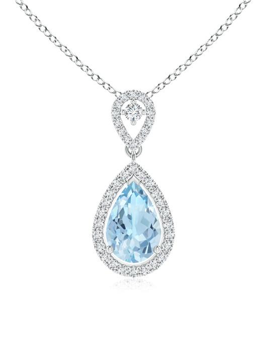 March Birthstone Pendant Necklaces Dangling Aquamarine Drop Pendant with Diamond Halo in 950 Platinum (9x6mm Aquamarine)... by Angara.com