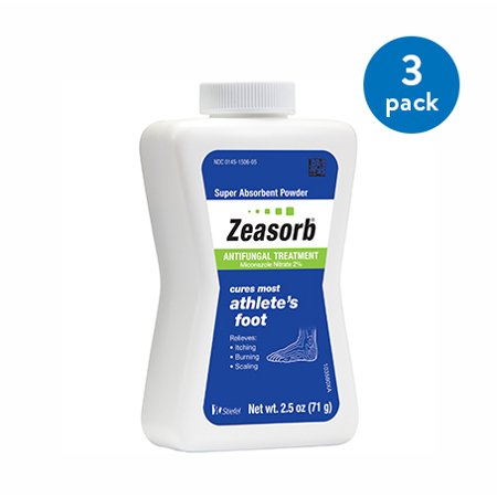 (3 Pack) Zeasorb Athlete's Foot Antifungal Treatment Powder, Miconazole Nitrate 2%, 2.5 oz