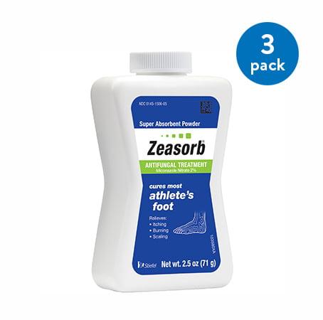 (3 Pack) Zeasorb Athlete's Foot Antifungal Treatment Powder, Miconazole Nitrate 2%, 2.5 oz