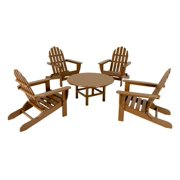 Outdoor 5-Piece Teak Brown Patio Conversation Chair and Table Set