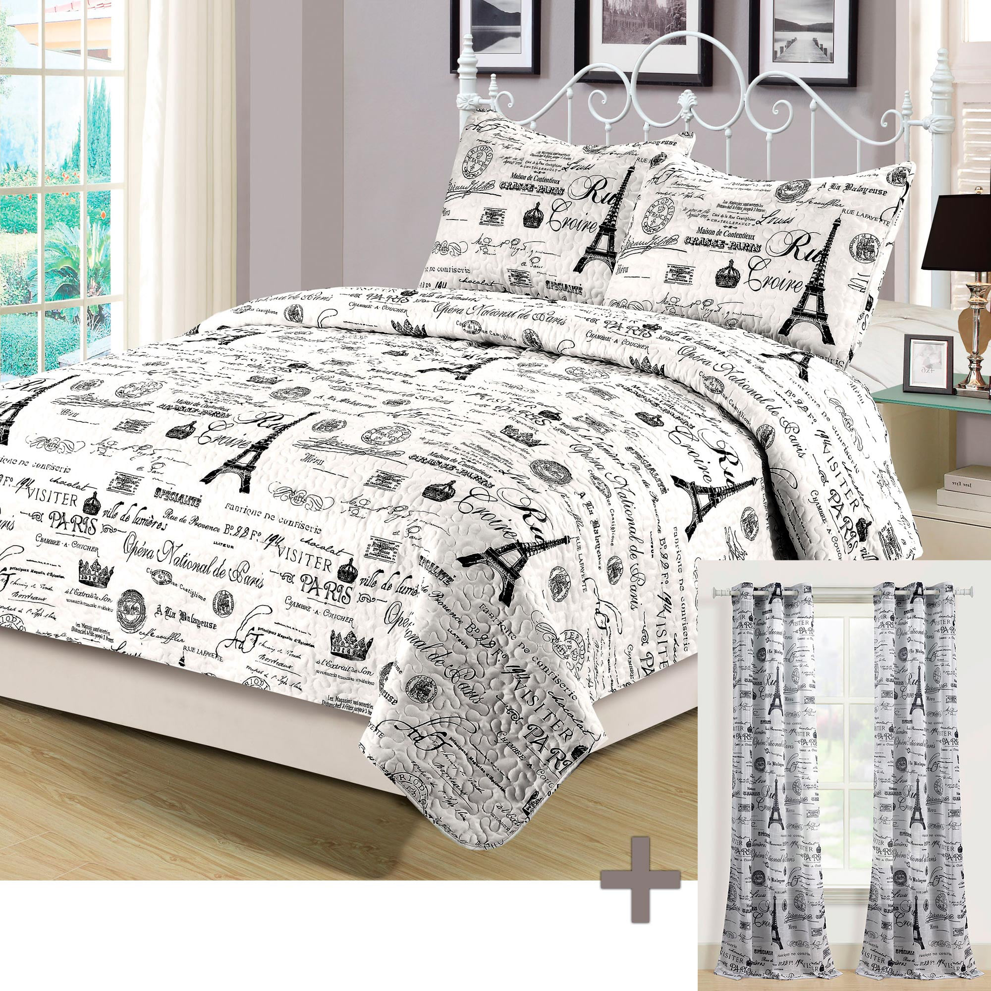 King Quilt Set with Matching Curtains 5 Piece Paris Eiffel Tower