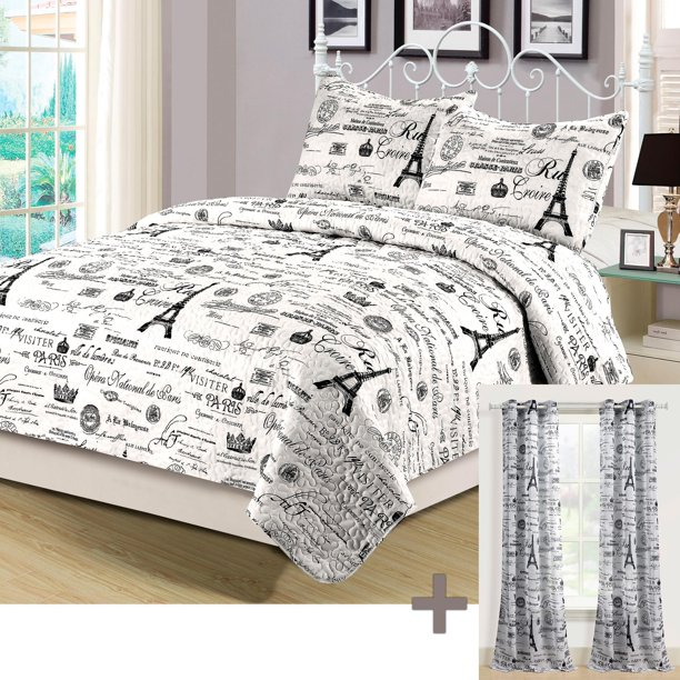 Queen Quilt Set With Matching Curtains, Bedding Set With Curtains