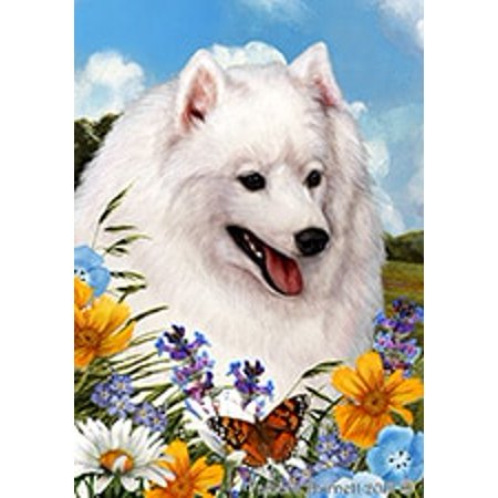 Japanese Spitz -  Best of Breed Summer Flowers Garden