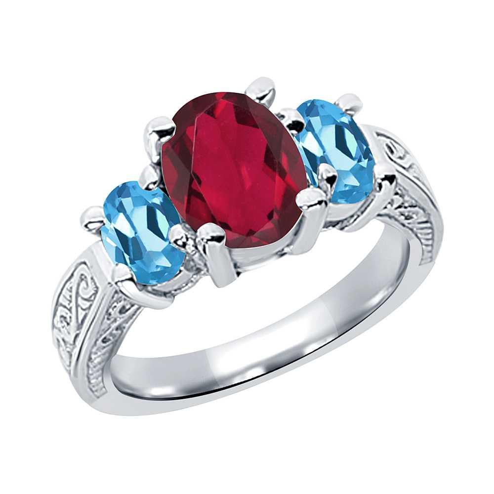 3.40 Ct Red Mystic Quartz Swiss Blue Topaz 925 Sterling Silver 3-Stone Ring