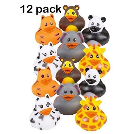 12 Pack Zoo Animal Rubber Ducks 2 Inches Assorted Safari Animal Duckies - For Kids, Party Favors, Gift, Birthdays, Baby Showers, Bathtub Toys, Bath Time, Party Favors, And More – By Kidsco - Rubber Duckies Baby Shower Decorations