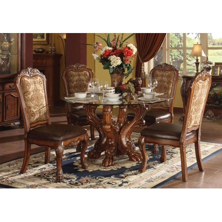 1Perfectchoice 5 Pc Dresden Traditional Dining Set Glass Table Top Craw Foot Decor Cherry Oak