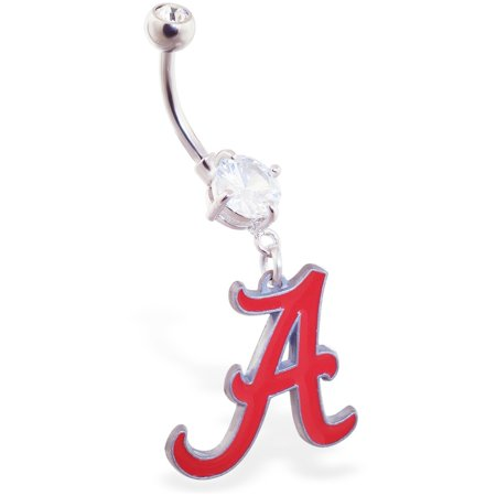 Mspiercing Belly Ring With Official Licensed NCAA Charm, University Of Alabama Crimson Tide