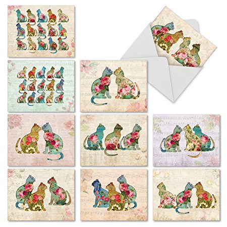 'M6452OCB CATFIGURATIONS' 10 Assorted All Occasions Note Cards Featuring Cat Silhouettes Filled with Luscious Floral Designs with Envelopes by The Best Card