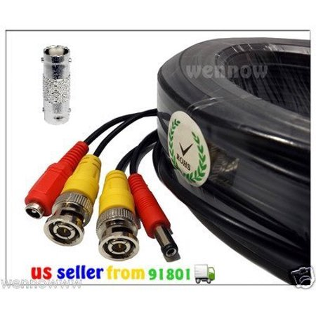 100FT Extension BNC Male Cable for Indoor Outdoor CCTV security camera, High Quality Connectors, can use Indoor or Outdoor By WennoW 100' Camera Extension Cable
