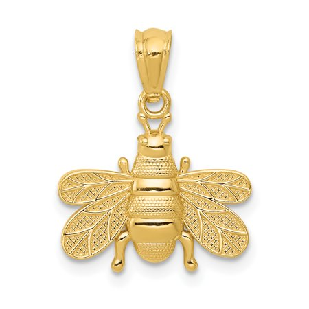14kt Yellow Gold Bee Pendant Charm Necklace Insect Fine Jewelry Ideal Gifts For Women Gift Set From Heart (Queen Bee Necklace)