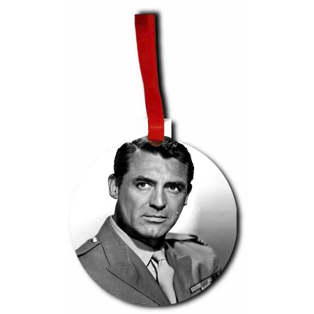 Cary Grant Flat Round Shaped Hardboard Hanging Christmas Holiday Tree Ornament Made in the (Amy Grant Rockin Round The Christmas Tree)