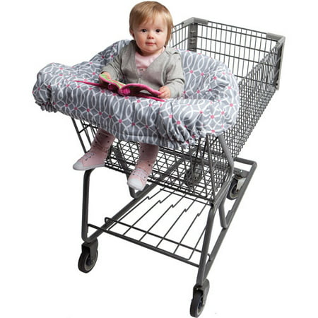 Boppy Shopping Cart Cover - Park Gate Gray Pink The Boppy Shopping Cart Cover features our exclusive Slideline system to keep toys within baby's reach (and off the ground). Extra large sizing for 360? coverage on all shopping carts. Plush crinkle toy included. Integrated safety strap keeps baby secure. Also can be used on restaurant high chairs. Machine washable.