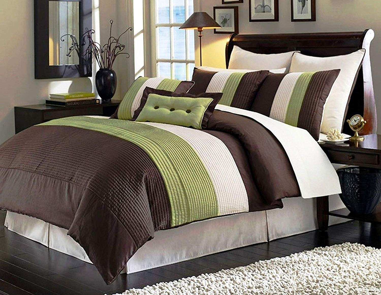 Legacy Decor 8 Pieces Comforter Set Bed In Bag Modern Brown Sage Beige Full Size Walmart Com Walmart Com