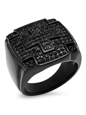 1a93f18c9 Sold & shipped by Overstock. Product Image Men's Black IP Stainless Steel  Black Cubic Zirconia Cross Ring