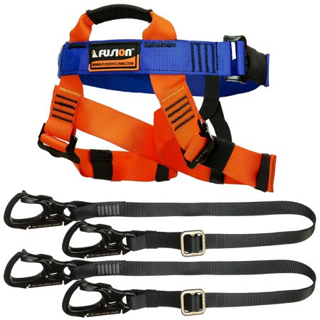 Fusion Climb Tactical Edition Kids Commercial Zip Line Kit Harness/Dual Lanyard Bundle - Zip Line Kit