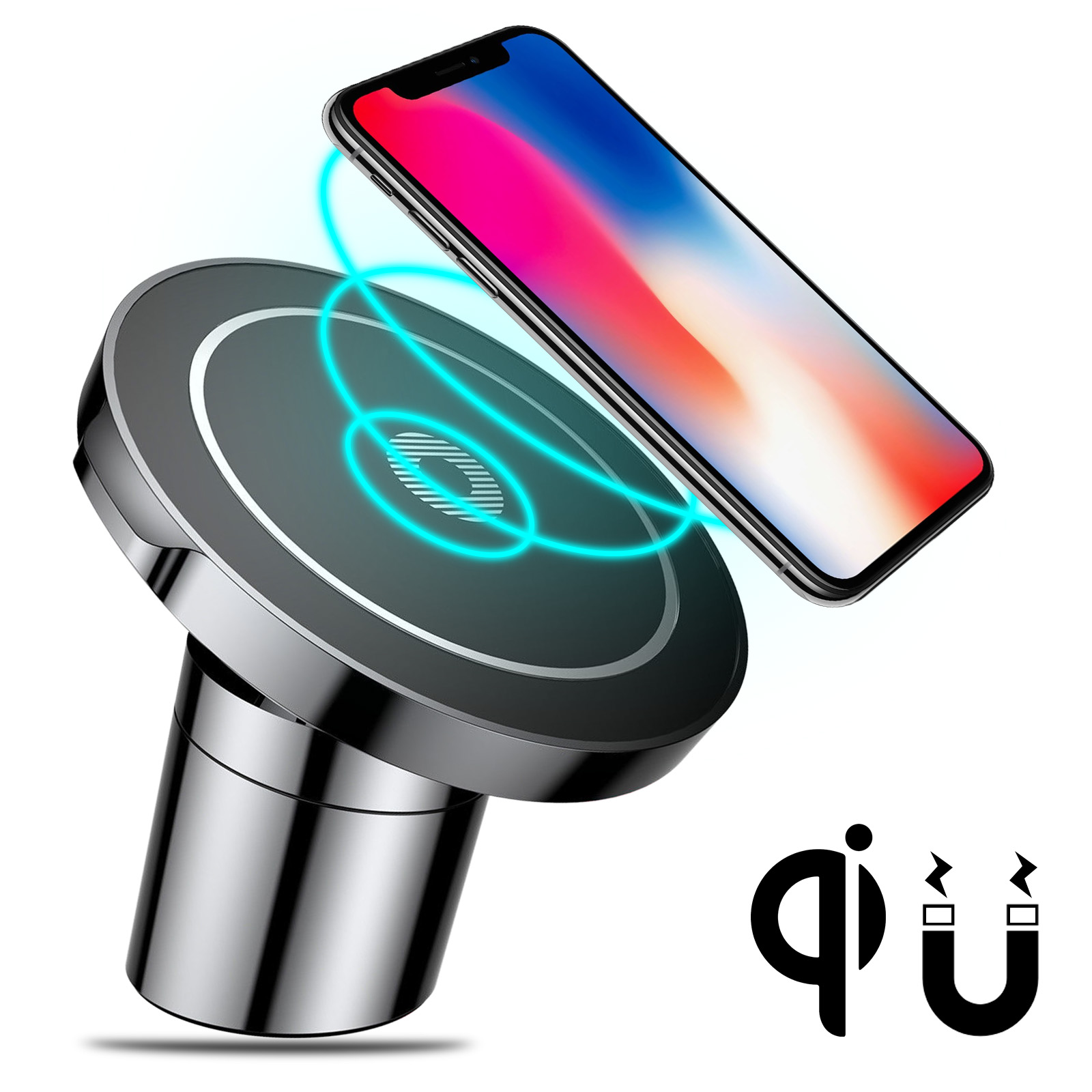 Fast Wireless Car Charger, TSV Quick Charger Magnetic Phone Holder for iPhone X/ iPhone 8 Plus/ iPhone 8/ Samsung Galaxy Note 8/ S8/ S8 Plus and All Qi-Enabled Devices