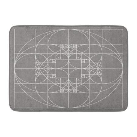 LADDKE Fibonacci Golden Ratio Patterns Sacred Geometry Spiral Sequence Gold Doormat Floor Rug Bath Mat 23.6x15.7 inch ()