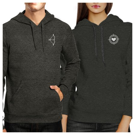 Bow And Arrow Dark Grey Pullover Fleece Matching Couple Hoodies