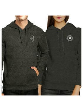 Bow And Arrow Dark Grey Pullover Fleece Matching Couple Hoodies