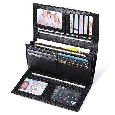 3c18150e1579 jeeburyee womens rfid blocking genuine leather clutch wallet card holder  ladies long purse large capacity organizer wallet black