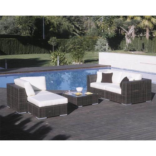 Hospitality Rattan Soho 5 Piece Deep Seating Sectional with Cushions