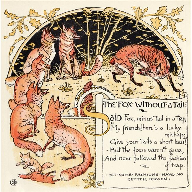 Posterazzi DPI1855450LARGE The Fox Without A Tale From The Book Babys Own Aesop by Walter Crane Published C1920 Poster Print, Large - 24 x 24 - image 1 de 1