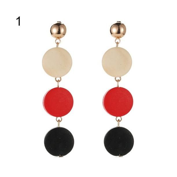 Women Charm Fashion Retro Wooden Water Drop Ear Hook Earring Jewelry