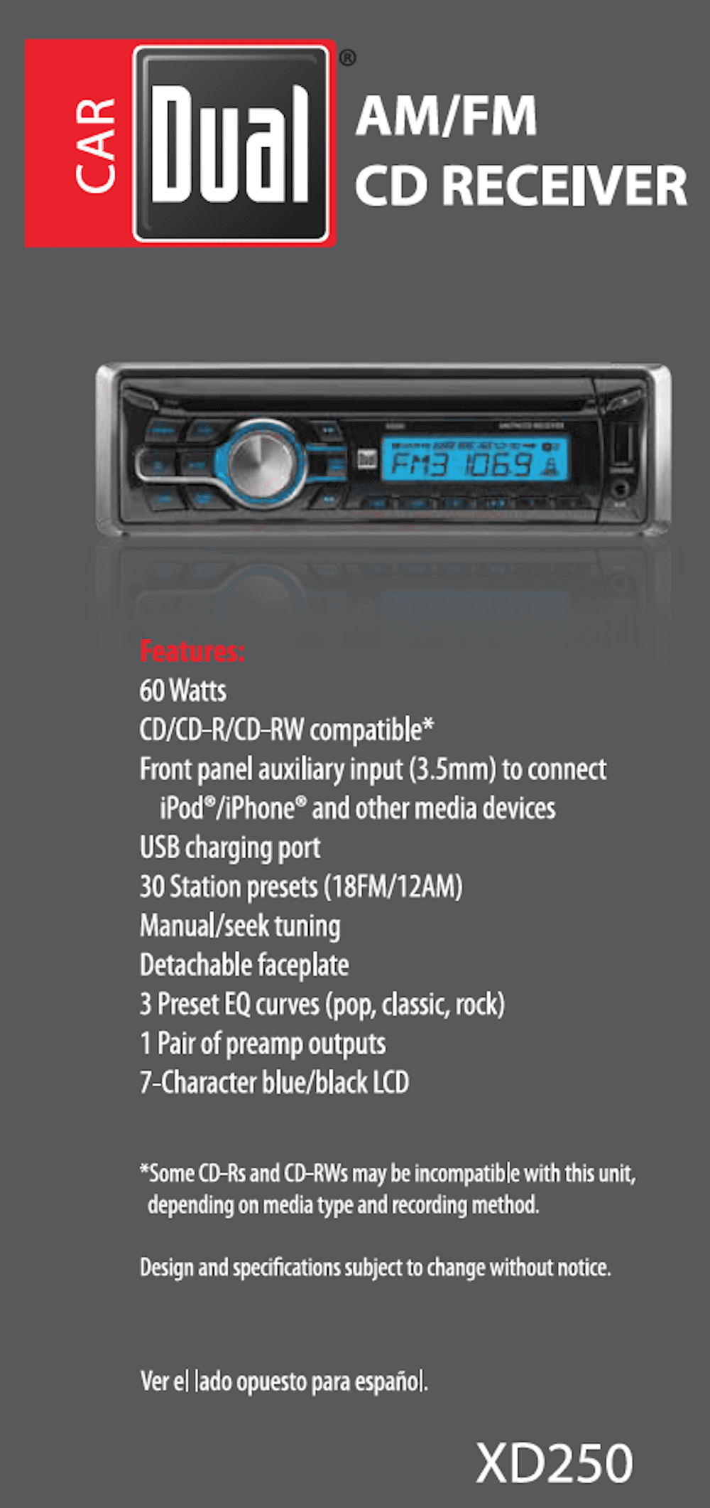 Dual Electronics Xd250 Detachable Lcd Single Din Car Stereo With Xd5250 Radio Wiring Diagram Built In Cd Usb Mp3 Wma Player
