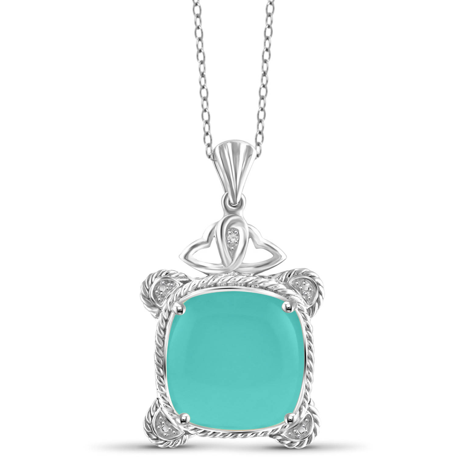 "JewelersClub 10-3 4 Carat T.G.W. Chalcedony and White Diamond Accent Sterling Silver Fashion Pendant, 18"" by JewelersClub"