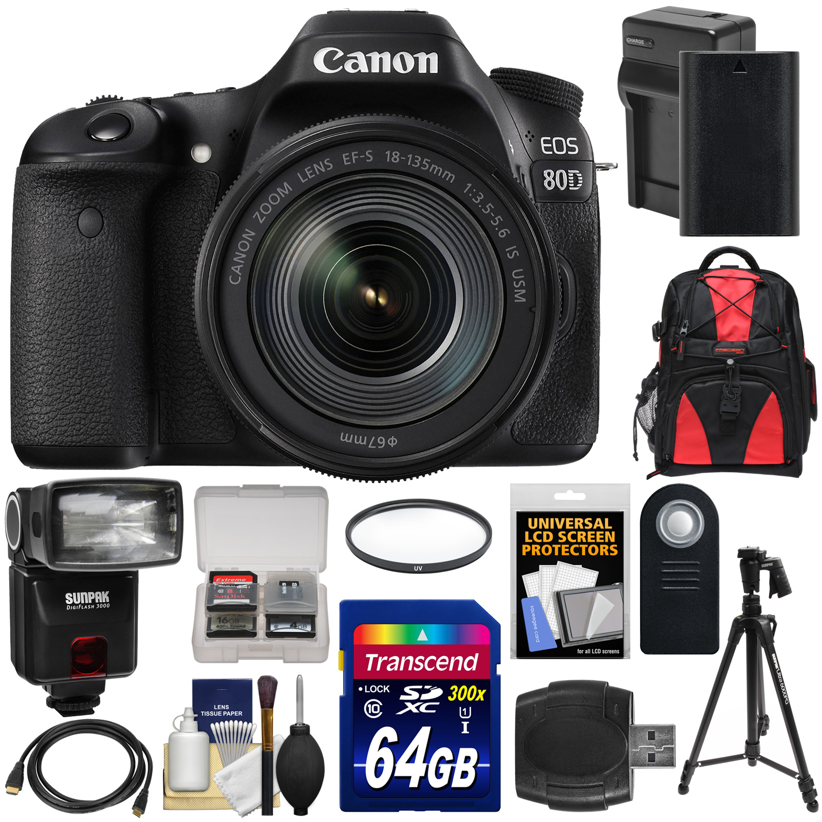 Canon EOS 80D Wi-Fi Digital SLR Camera & EF-S 18-135mm IS USM Lens with 64GB Card + Battery & Charger + Backpack +... by Canon