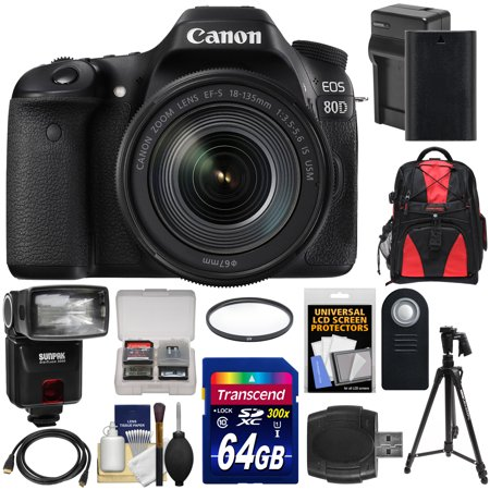 Canon Eos 80D Wi Fi Digital Slr Camera   Ef S 18 135Mm Is Usm Lens With 64Gb Card   Battery   Charger   Backpack   Filter   Tripod   Flash   Kit