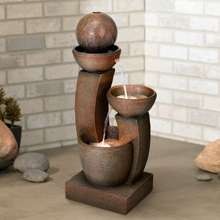 John Timberland Modern Zen Outdoor Floor Water Fountain with Light LED 31