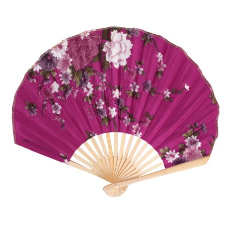 Bamboo Rib Floral Pattern Hand Held Folding Fan Rose Red