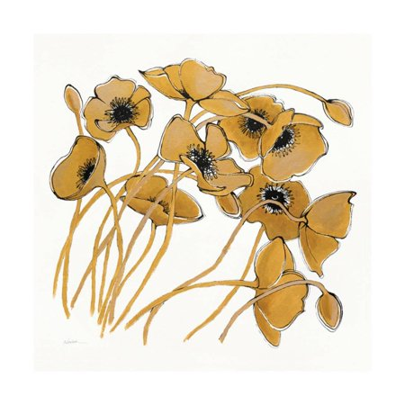 - Gold Black Line Poppies II Print Wall Art By Shirley Novak