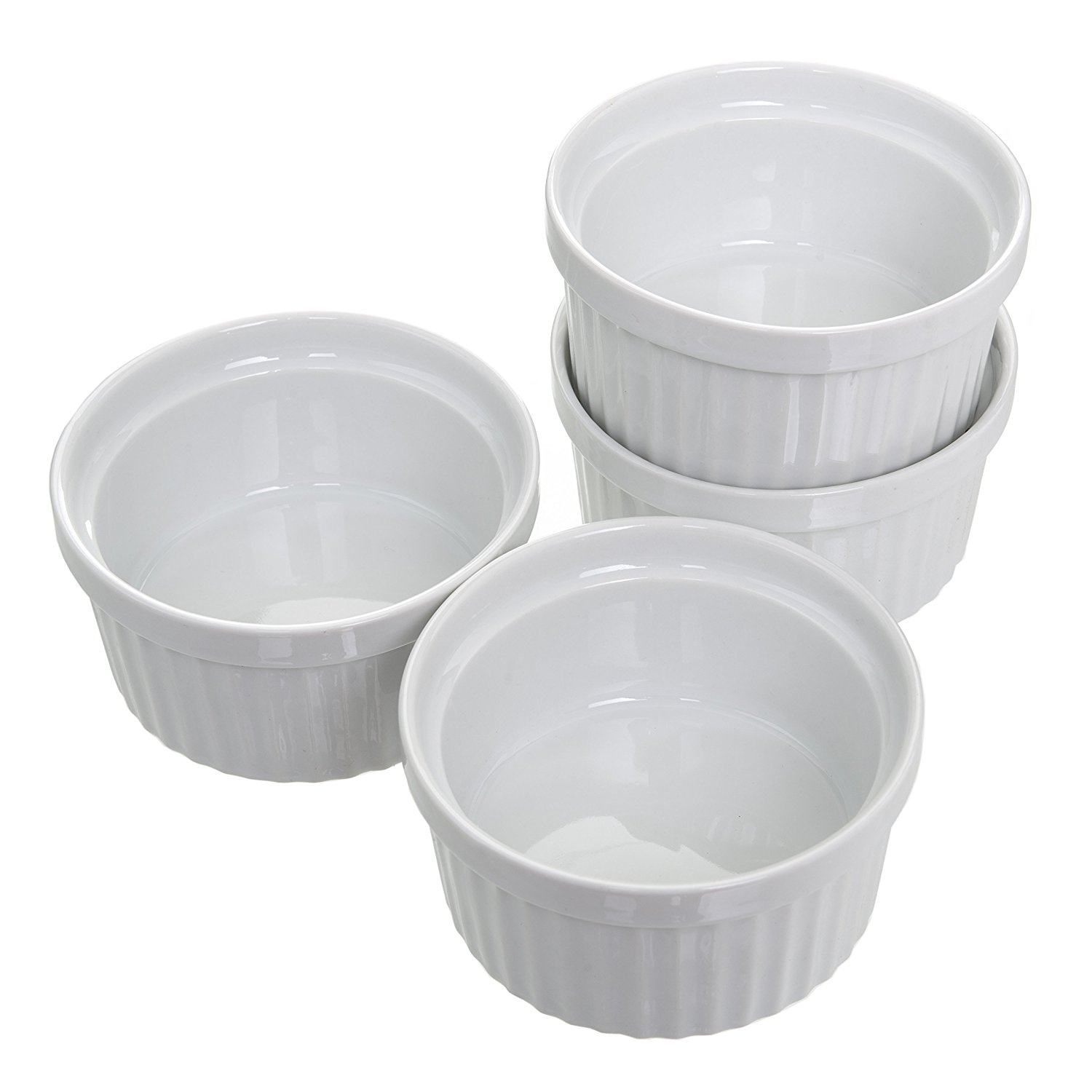 4 oz. Porcelain Ramekins (Set of 4) Souffle Cups Dishes Creme Brulee Pudding Custard Cups Desserts White... by