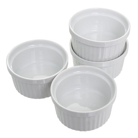 4 oz. Porcelain Ramekins (Set of 4) Souffle Cups Dishes Creme Brulee Pudding Custard Cups Desserts White Bakeware