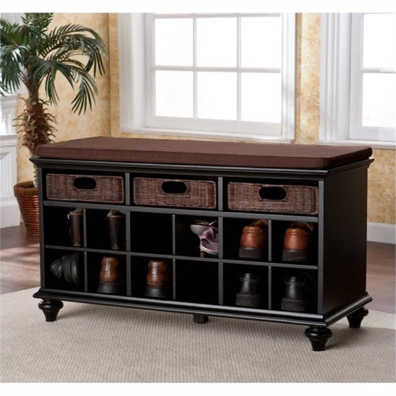 Bowery Hill Shoe Rack Entryway Bench in Black
