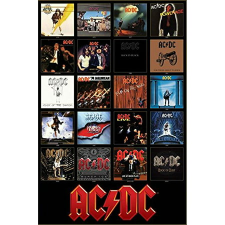 AC/DC Discography Album Covers 1976-2014 36x24 Music Art Print Poster ACDC Cd Album Cover Art