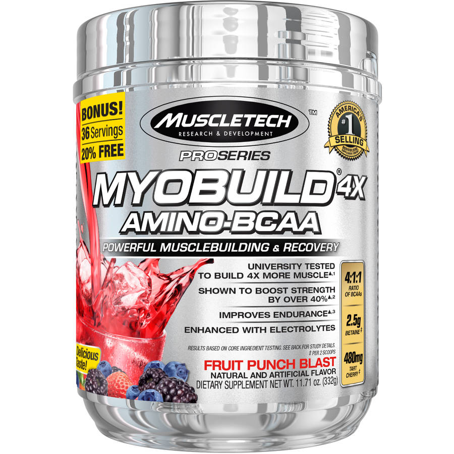 MuscleTech Pro Series Myobuild 4X Amino-BCAA Fruit Punch Blast Dietary Supplement, 11.71 oz