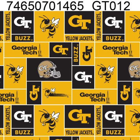 Georgia Tech Fabric (Georgia Institute of Technology University Fabric Super Soft Fleece Classic Geometric Design-Sold by the Yard )