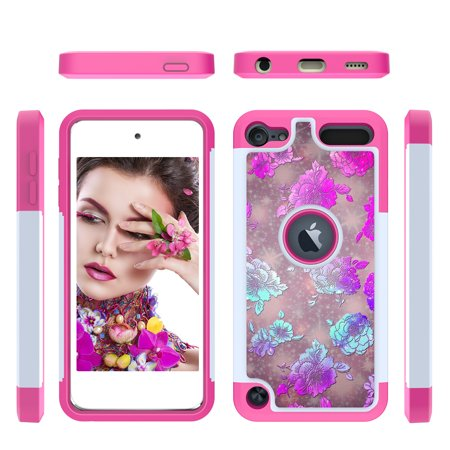 Allytech iPod Touch 7 (2019) Case, iPod Touch 6 Case, iPod Touch 5 Case, 2 In 1 Shockproof Protective Anti-Scratch Drop Proof Case Cover for Apple iPod Touch 7th / 6th / 5th Generation,Flower ()