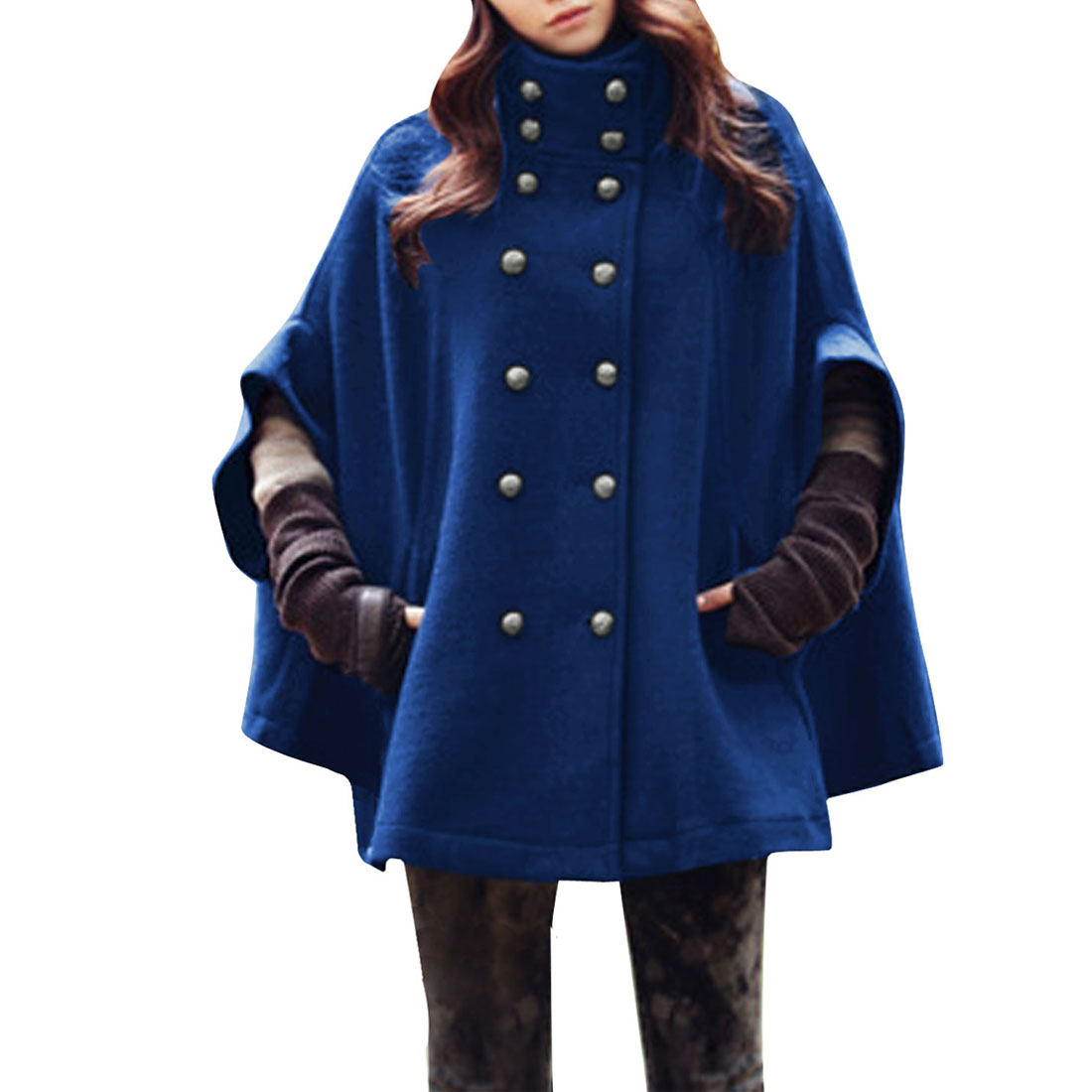 Allegra K Women's Stand Collar Seam Pocket Poncho Coat Royal Blue (Size M / 8)