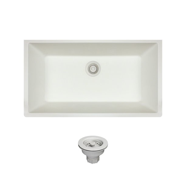 Mr Direct 848 White Undermount Composite Granite 32 5 8 In Single Bowl Kitchen Sink Ensemble With One Strainer Walmart Com Walmart Com
